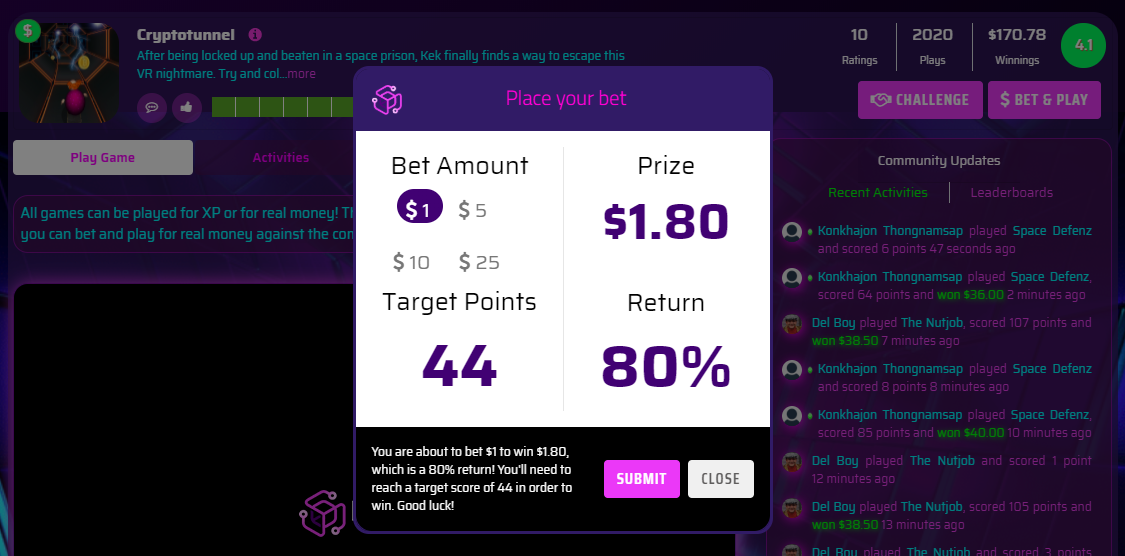 1P mode in Betverse (Bet & Play)